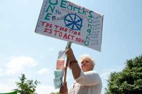 The Global Climate March, Howick, KwaZulu-Natal, South Africa. 29 November 2015 Community members march together against the threat of fracking in the KwaZulu-Natal region of South Africa.
