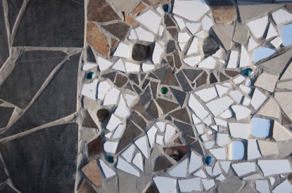 Details and whole work, Black Star mosaic.