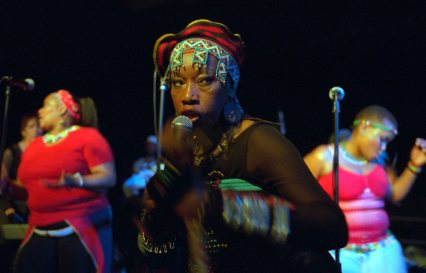 ipjr10653630 busi mhlongo performs with her band at the bat centre in durban south africa. august 2006 copyright © john robinson/south photographs africa afrika afrique people social documentary reportage majority world developing world third world maskanda music culture zulu