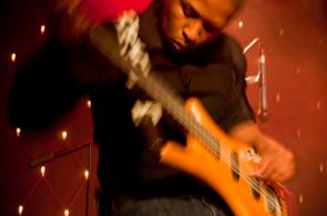 Rusty Red on lead guitar and vocals, Skippy Kubheka on bass guitar, Chris Melling drums