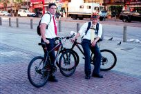 """Durban's People, Elder Hamilton and Elder Moore are 2 Mormon missionaries from the USA, """"you can't take our photo on the beach front, but you can take it here."""" Durban, South Africa."""