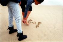 Durban Beachscapes, writings in the sand, South Beach, Durban, South Africa.