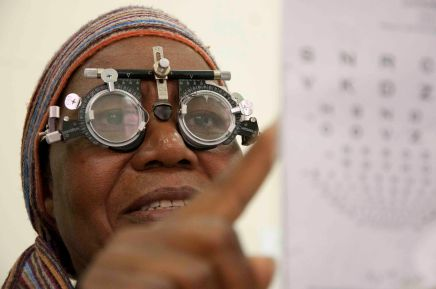 Eye testing in Warwick Junction. Reading glasses were provided to those needing them, others were referred on to local eye clinics for further testing. OCTOBER 2010 DURBAN SOUTH AFRICA PHOTO/JOHN ROBINSON