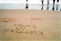 Durban Beachscapes, writings in the sand, South Beach, Durban, South Africa.