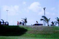 Beachscapes, Durban beach front skate park sky line.