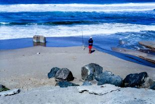Beachscapes, fisherman on Cuttings Beach.