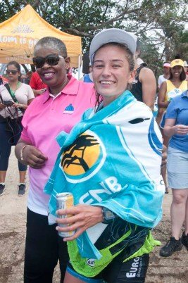 Zandile Gumede, Mayor of eThekwini Municipality and Christie MacKenzie, womans winner at the finish line of the FNB Duzi 2019 K1 race