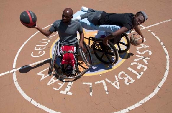 PEOPLE WITH DISABILITIES, TEAM MEMBERS OF THE GELUKSPAN WHEELCHAIR BASKETBALL TEAM