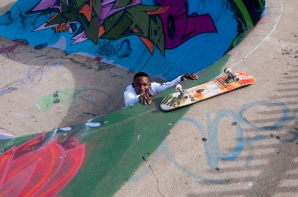 Fadeel, a skate gent at the beach front skate park, Durban, South Africa.