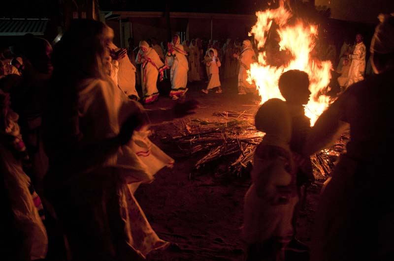 Members of the Ethiopian community dance around the fire of the Celebration of Light at St Mary Ethiopian Chruch in Durban, South Africa.