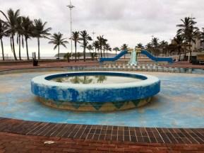 During Covid 19 lockdown, Paddling pools on beachfront.