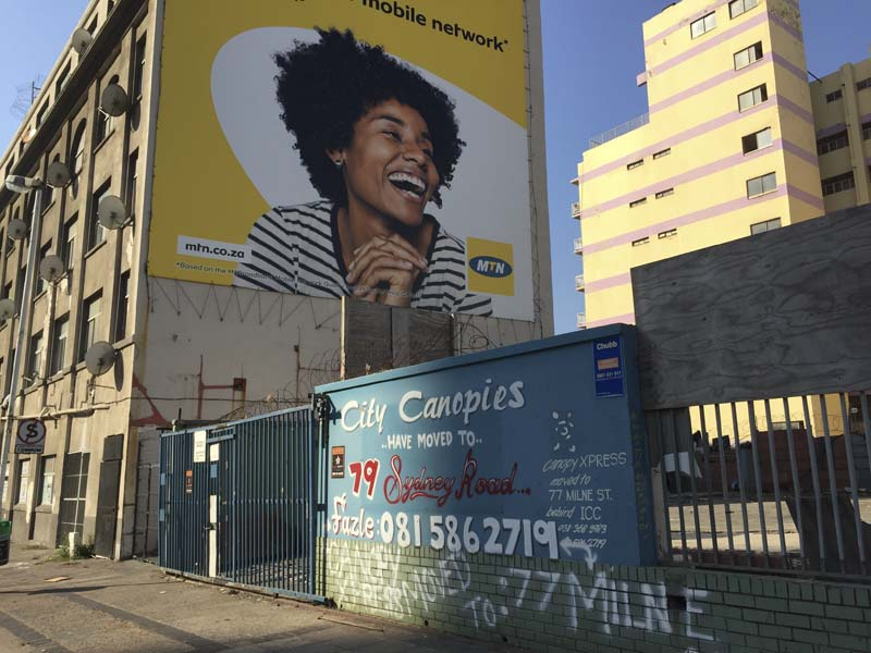 During COVID-19, data advert and vacent lot in Point, Durban.